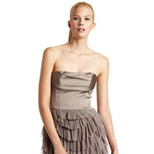 BCBGMAXAZRIA Jacquier tiered tulle strapless dress